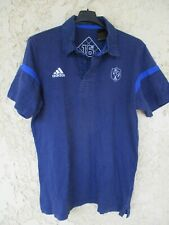 Polo rugby équipe QUINZE de FRANCE bleu ADIDAS manches courtes coton M