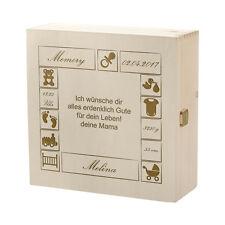 Boîte de trucs en bois incl. GRAVURE Motif Bébé Jeu construction avec texte