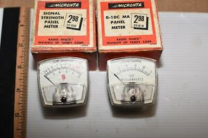 2 MICRONTA PANEL METERS radio shack Tandy 0-1DC MA 22-018 Signal Strength 22-020