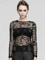 Devil Fashion Rock Women Long sleeve Black Skull Mesh goth Top punk shirt Blouse
