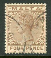 Malta 1885 QV 4p Brown Scott #12 VFU A338 ⭐⭐⭐