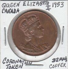 (U) Token - Canada - 1953 - Coronation Token - Queen Elizabeth II - 32 MM Copper