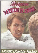 Spartito - Le Canzoni di Fabrizio De Andrè - Ed. Leonardi Milano - 1978