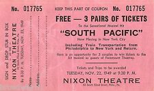 """Mary Martin """"SOUTH PACIFIC"""" Rodgers & Hammerstein 1949 FREE Tickets Entry Form"""