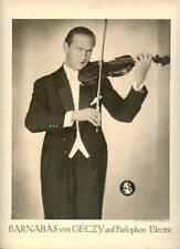 Barnab�S von GÉCzy Violinist Vintage Poster 1930s