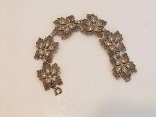 Vintage 925 Sterling Silver Leaves & Rhinestones Bracelet