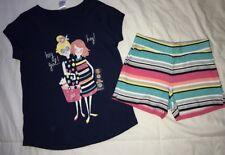 gymboree Hey Girl hey navy top striped shorts 7 7-8