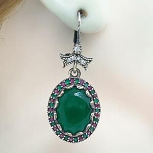 Deco 23.40ctw Emerald, Ruby & Diamond Cut Sapphire 14K Yellow Gold 925 Earrings