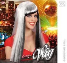 Long Silver Black Wig With Fringe Lady Gaga Morticia Adams Halloween Fancy Dress