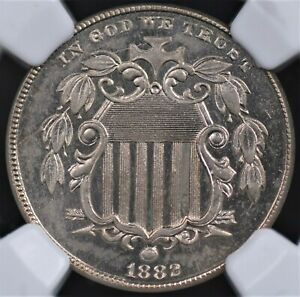1882 SHIELD NICKEL NGC MS 64 BLAZING CHROMIUM NICKEL WHITE  EXCELLENT STRIKE AND