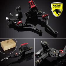 """MZS Universal 7/8"""" Brake & Clutch Levers Master Cylinder Set Reservoir Black"""