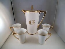 Vintage KT & K Knowles Taylor SV China Coffee Pot & Cups Gold Rim CE