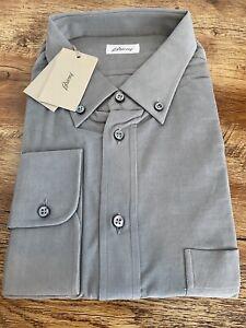 Brioni Shirt Corduroy Cotton 3XL Grey/Flannel STUNNING BNWT RRP £390
