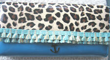 ROCKABILLY LEOPARD PRINT BLUE FRINGE ANCHOR CHARM WALLET PURSE FOLD CLUTCH STYLE