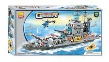 Woma Kriegsschiff mit Helikopter und  Boot Bausteine Set über 1000 Teile J5627