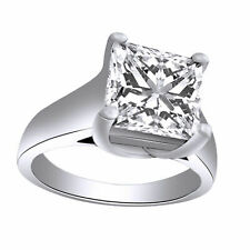 Solitaire Cubic Zirconia Engagement Ring With Center Stone 14k White Gold