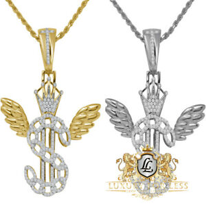 Men's Flying Money $ Sign Crown Custom Pendent Real Sterling Silver Charm +Chain