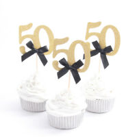 10 x Gold 50th With Black Ribbon Cupcake Toppers Birthday Anniversary Cute