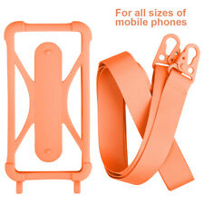 Cell Phone Lanyard Holdr Silicone Credit Case Holder with Detachable Neck Strap~