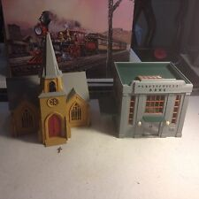 O GAUGE BACHMANN BUILT UP CHURCH & BANK- VERY GOOD SHAPE - P199
