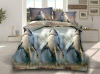 3D Effect Shark 318 Quilted Fitted Sheet, Duvet Cover & Pillow Shams Set