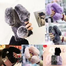 Cute Bunny Fluffy Plush Faux Rabbit Fur Back Case For iPhone Samsung Galaxy