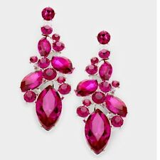 "2.75"" Long Hot Pink Fuchsia Dangle Pageant Rhinestone Crystal Silver Earrings"