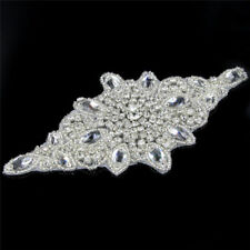 1 Pc Crystal Rhinestone Beaded Applique Trim Silver Tone Sewing Iron Dress Craft