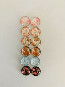 6 Pairs Of 12mm  Cabochons #860