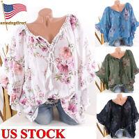 Womens Summer Bohemian Short Sleeve Floral Shirt Blouse Tops Loose T Shirt Tee
