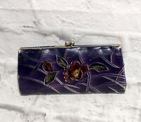 Vintage Leather Coin Purse Wallet Clutch Kisslock Closure Tooled Floral Purple