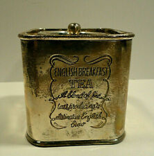 English Breaksast Tea Silverplate Square Tin