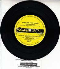 "LOUIS ARMSTRONG  Swing Low Sweet Chariot EP 7"" 45 record + juke box strip RARE!"