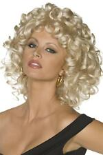 LADIES 50's SANDY LAST SCENE WIG WOMENS CURLED BLONDE GREASE FANCY DRESS HAIRCUT
