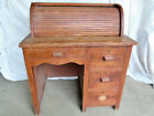 Antique Child s Rolltop Desk  custom made solid maple wood  4 drawers w locks