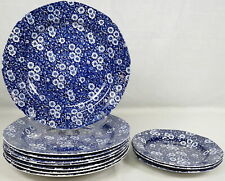 Lot 11 Crownford China Co Calico Blue Plates Dinner Salad Staffordshire England