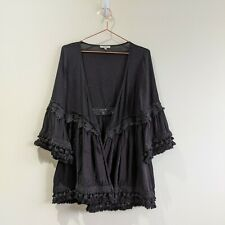 JODIFL Kimono Cardigan Boho Black Bell Sleeves Women's Open Front Cotton Small