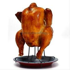 Beer Can Chicken Duck Roaster Drip Pan Outdoor BBQ Grill Oven Rack Cooker Holder