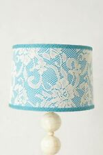 Anthropologie Lamp Shade VEILED Floral Lace Table Blue Green Stitch Fabric NIB