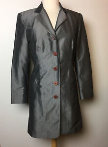 Compagnie Internationale EXPRESS Silver Women Sz 1/2  Lined Trench Coat USA made