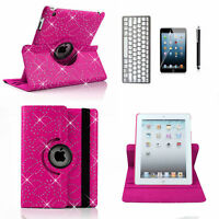 Bluetooth Keyboard + Crystal Bling Rotating Leather Case Cover For Ipad air 2 6G
