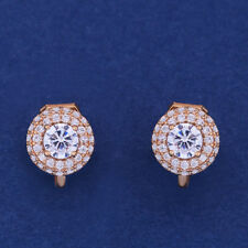 18K YELLOW GOLD PLATED GENUINE AUSTRIAN CRYSTAL SMALL ROUND  CLIP-ON EARRINGS
