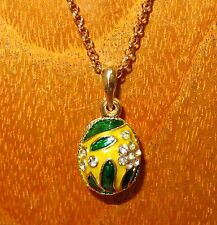 FABERGE inspired ENAMEL Swarovsky Crystals flowers Green leaf YELLOW EGG pendant