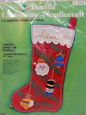 "Yuletide Ornaments Jumbo 19.5"" Crewel Felt Christmas Stocking Kit Bucilla New"