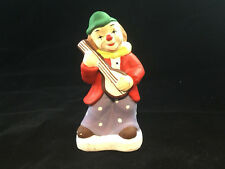 "Clown Figurine Playing Mandaline 4.75"" Tall W/ Green Hat Red Coat Yellow Bow tie"