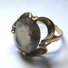 9 CARAT GOLD VINTAGE MODERNIST SMOKY QUARTZ COCKTAIL RING SIZE N 1/2 YL576