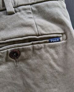 POLO Ralph Lauren Stretch Straight Fit Chino Trousers Olive Brown W34 L31 VGC
