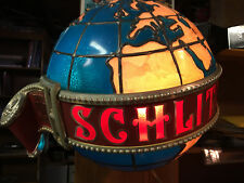 Schlitz Large Rotating Lighted Beer Globe Sign 1976, working but needs attention