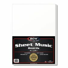 "(100) BCW BBSM Sheet Music Backing Boards Backers 9-1/4x12-1/8"" Supplies Storage"