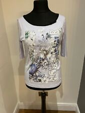 Marc Cain Purple Floral 3/4 Sleeves Top UK Size 16